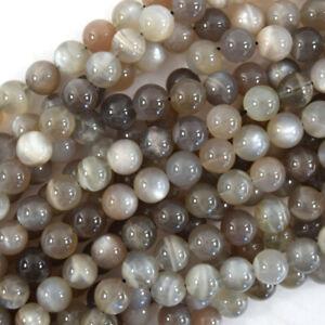 Natural 12mm dark gray Moonlight crystal matte round beads Genuine Gemstone