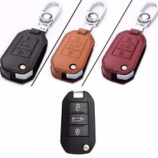 New Leather 3 Button Remote Key Bag Case Fob Holder Chain For Peugeot Series A