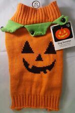 "Orange Halloween Jack-o-Lantern Face Dog Sweater Costume w/Bells  XSmall 12""-15"""