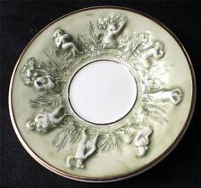 """Vintage 50s Signed CAPODIMONTE Italy Green Relief WOMEN Pattern 5 1/2"""" Saucer"""