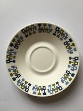 Royal Vale, Bone China, Retro Blue/Green Shape Pattern, Saucer 13.5cm