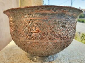 1800's Original Antique Middle East Persian Detail Hand Chased Red Copper Bowl
