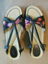 DANSKO Naomi Sandals Floral Fabric Wedge Heel 39 (US9) Blue Leather Fabric Sling