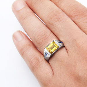 Mens Ring with Yellow CITRINE and 8 NATURAL SAPPHIRES in Fine Sterling Silver