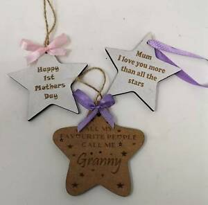 Wooden Personalised Star with twine or Ribbon for Easy hanging for Mothers Day