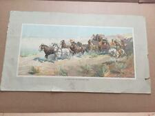 RARE Anheuser Busch A Fight for the Overland Mail Oscar Berninghaus Litho 1900s