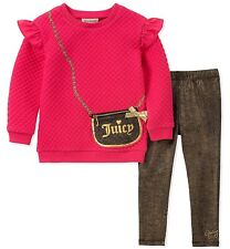 NWT Juicy Couture Baby Girls 2 Pieces Tunic Legging Set Pink Black Print 6/9 M