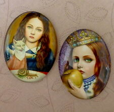 2 pcs 30x40mm Domed Oval Cabochons Character cabochon CH002
