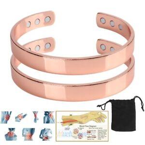 2Pcs Copper Magnetic Bracelet Arthritis Therapy Women Men Adjustable Roman Cuff