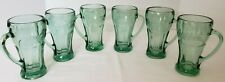 """Vintage Libbey Coca Cola SIX Green Glass Mugs with Handles 14 oz. 6-3/8"""" Heavy"""