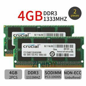 8GB 2x 4GB PC3-10600S DDR3 1333MHz 204Pin SODIMM intel Laptop RAM For Crucial BT