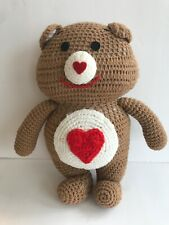 Vintage Crocheted Care Bear Brave Heart Plush 12.5� Tan Red Valentines Day Love
