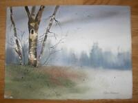 LOUISIANA ARTIST IMPRESSIONISM LANDSCAPE OLD TREE MINIMALIST WATERCOLOR PAINTING