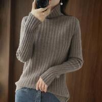 Women Fashion High Neck Warm Chic Pullover Long Sleeve Thick Knitted Sweater Top