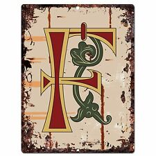 PP0514 Alphabet Medieval Initial Letter F Chic Sign Bar Shop Store Home Decor