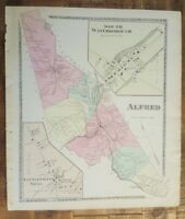 Antique Colored MAP - ALFRED, MAINE - / Atlas York County, ME - 1872