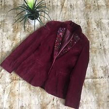 Artsy Burgundy cotton velvet jacket with button detail lapels size 8/10 Boho