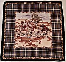 "VINTAGE AUTHENTIC LANOLINI FOX HUNTING PLAID FRAME SILK 34"" SQUARE SCARF"