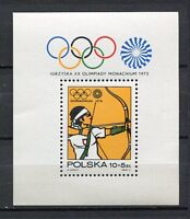 36088) Poland 1972 MNH Olympic Games, Munich S/S