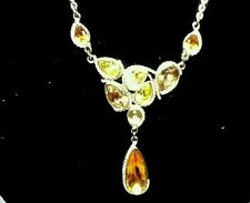 """AUTUMN COLORS, Ambers, Silvertone Drop Necklace 16"""" w/3"""" extender 9 Stones NEW"""