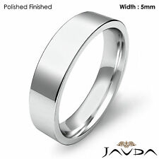 Wedding Band 5mm Platinum Comfort Fit Women Flat Pipe Cut Ring 8.9gm Sz 6 - 6.75