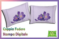 COPPIA FEDERE 52X82 100% COTONE STAMPA DIGITALE FIORE VIOLA FIORE LILLA 0115