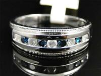 Mens White Gold Round Cut Blue and White Diamond Wedding band Ring 6 MM .53 Ct