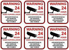 LOT OF 6 VIDEO SURVEILLANCE Security Decal  Warning Sticker Signs LARGER SIZE