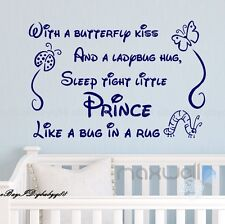 Sleep Tight Prince ladybird Wall Decals Quote stickers kids decor nursery art