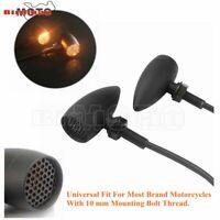 Universal Motorcycle Retro Black 10mm Bullet Amber Turn Signal Indicator Light