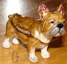 Enameled French Bulldog Box (Pedigree Dog, 3730) Australian Crystals