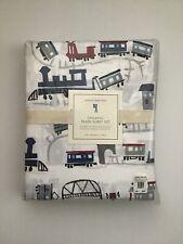 Pottery Barn Kids Rare Organic Train Railroad Sheet Set Twin Brand New Luxury