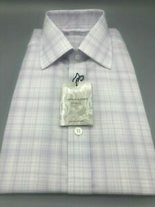 TURNBULL & ASSER Lilac Check Shirt, UK:16.5, EU: 42, RRP: £215!  NEW WITH TAGS