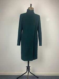 John Lewis Green Wool Rich with Cashmere Tailored Funnel Neck Coat UK10 RRP169