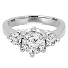 Prong 3-Stone Ring .925 Silver Ring 2.12ct vvs1>Near white Moissanite Diamond 6