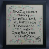 Vintage Embroidered Sampler Childs Prayer Now I lay Me Down to Sleep Needlepoint