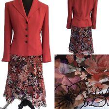 MINUET Skirt & Jacket Suit Dusky Pink Floral Embroidered Size 16 Wedding Races