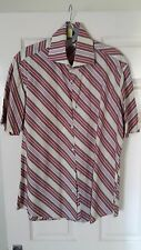 """MENS D.A. SHIRTING ITALY CREAM BROWN PINK  RED STRIPED FITTED SHIRT, 17"""" COLLAR"""