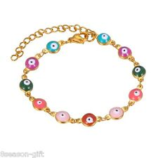 1PC Gold Plated Stainless Steel Colorful Evil Eyes Chain Bracelet 20cmx6mm