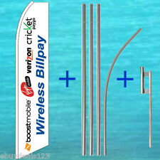 WIRELESS BILL PAY FLUTTER FLAG + 15' TALL POLE MOUNT KIT Feather Swooper Banner