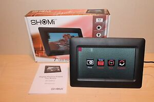 """SHOMi 7"""" LED Digital Picture Frame USB SD/SDHC, MMC Open Box MINT Works Great!"""