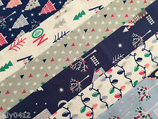 Bundle of 6 Christmas Village Cotton Fat Quarters - Xmas Tree Lights Ho Noel