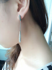 New Swarovski Element Crystal Pierced Silver Rhodium Plated Drop Dangle Earrings