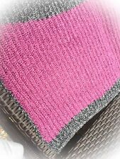 Knit Baby Blanket Pink with Gray Trim handmade girl soft