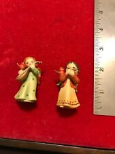 ~Anri Italy~ Set of 2 Hand Carved & Painted Angels Playing Harmonica & Guitar.