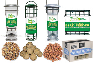 "Deluxe 8"" Wild Bird SEED, NUT, FAT BALL and SUET CAKE Feeders with FEED BUNDLE"