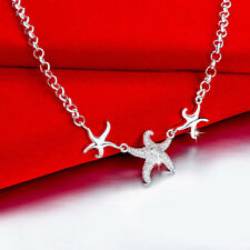 Elegant Wholesale 925 Sterling Silver Filled Lovely Starfish Pendant Necklace
