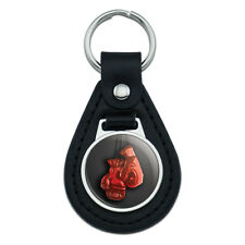 Boxing Gloves Boxer Black Leather Keychain