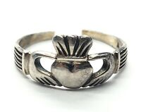 Vintage Sterling Silver Ring 925 Size 5.5 Ireland Irish Cut Back Claddaugh