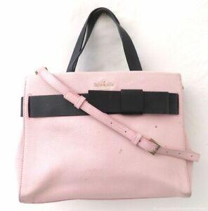 Kate Spade Blush Pink Pebble Leather Bow Satchel Bag Purse